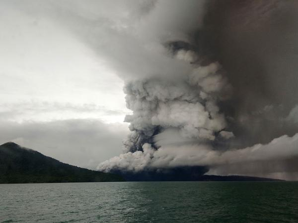 Anak (Child) Krakatau volcano erupts, as seen from a ship on the Sunda Straits, Indonesia, on Thursday.