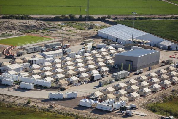 Aerial view of the tent city at the Marcelino Serna Port of Entry in Tornillo on Wednesday, Sept. 12, 2018. The shelter opened in June and has grown approximately 10 times in size, compared to file photos.