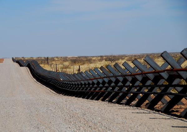The border fence between Mexico and the U.S. on a stretch of land between New Mexico and El Paso.