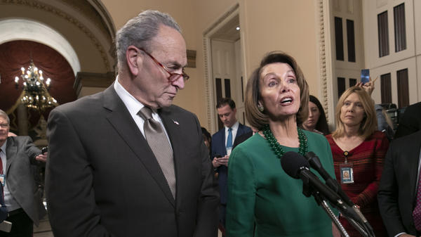 House Speaker-designate Nancy Pelosi, D-Calif., and Senate Minority Leader Chuck Schumer, D-N.Y., address reporters about the fight over funding a border wall before the partial government shutdown. Pelosi will lead House Democrats in voting on a bill to reopen the government when they take power in the House on Thursday.