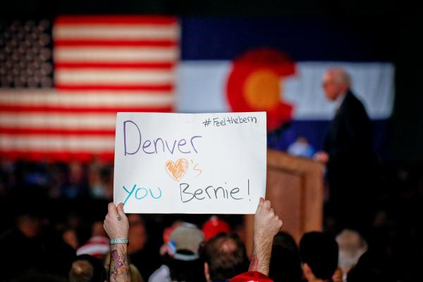 """""""I believe that health care is a right, not a privilege,"""" Sen. Bernie Sanders told Denver supporters in February. ColoradoCare supporters hope to leverage his charisma for a win on their state amendment."""
