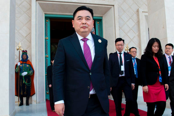 Haite Group chief Li Biao leaves a Moroccan palace near Tangier in March 2017. The extent of the company's involvement in the Tangier Tech City project is no longer clear.