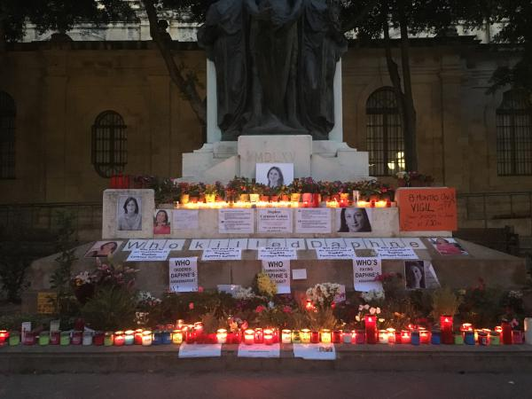 On the 16th of every month, supporters of Daphne Caruana Galizia mark the day she was killed in a car bombing with a vigil across from the courthouse in Valletta.