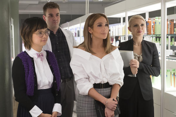 Jennifer Lopez, center, stars in <em>Second Act, </em>which comes out December 21. The film also features, from left, Charlyne Yi, Alan Aisenberg and Annaleigh Ashford.