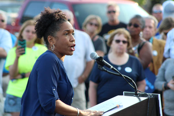 In this file photo from 2017, state Rep. Juliana Stratton campaigns with J.B. Pritzker at a union rally in Springfield.