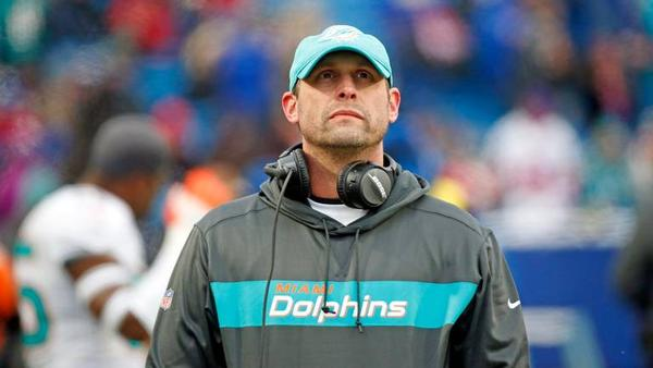 Miami Dolphins head coach Adam Gase paces the sidelines as the Buffalo Bills host the Miami Dolphins at New Era Field, Orchard Park, NY on Sunday, December 30, 2018.