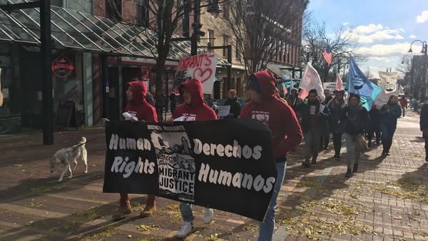 Farmworkers marched to the federal courthouse in November in Burlington, Vt. to file a lawsuit that alleges their leaders were targeted by ICE, with the help of the state DMV.