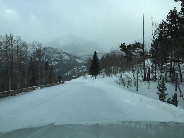 Snow on Bear Lake Road in Rocky Mountain National Park remained unplowed due to the government shutdown.