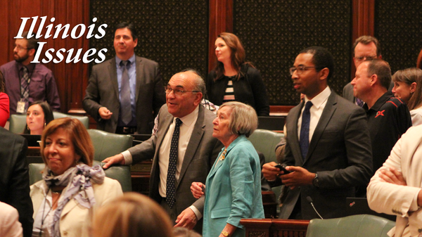 State Rep. Lou Lang and Majority Leader Rep. Barbara Flynn Currie watch the roll call verification as the Illinois House passes the ERA