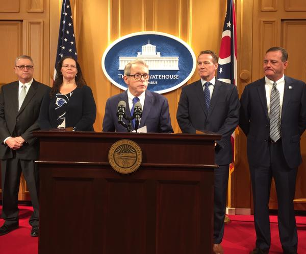 (from left to right) former Rep. Jeff McClain, Annette Chambers-Smith, Governor-elect Mike DeWine, Lt. Governor-elect Jon Husted, Kevin Miller