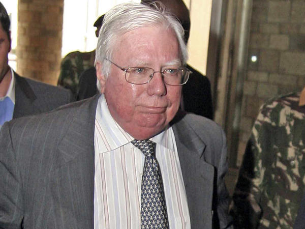 Jerome Corsi arrives at the immigration department in Nairobi, Kenya. A longtime conspiracy theorist, Corsi has filed suit against the Justice Department over the Russia probe.