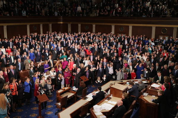 House Speaker Nancy Pelosi swears in members on Thursday at the Capitol, including a record number of women in the House of Representatives.