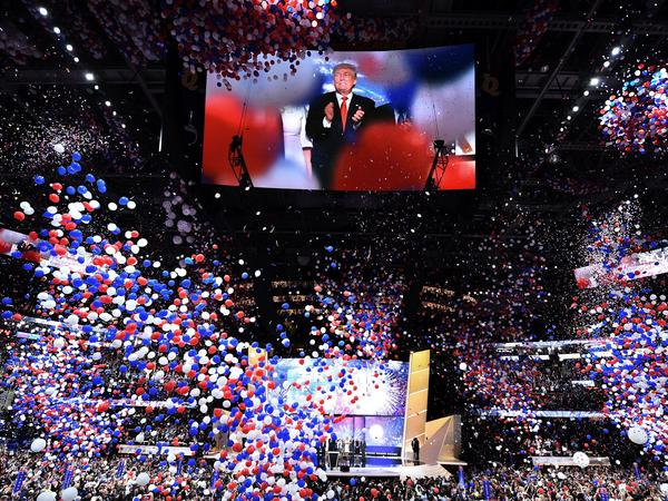 Donald Trump accepts the 2016 GOP presidential nomination at the Republican National Convention in Cleveland. Some party activists want to prevent a primary challenge to Trump in 2020.