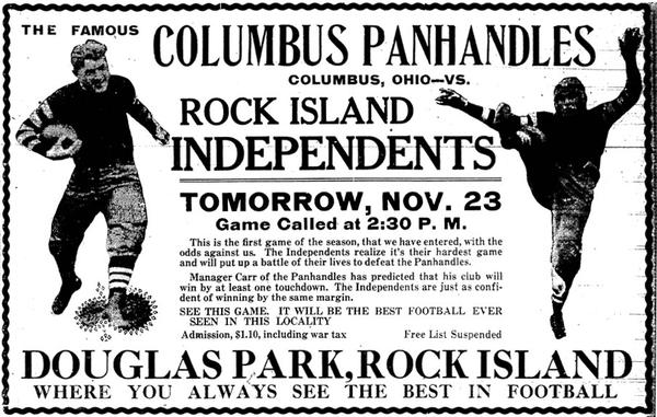 Promotional flyer for  an Independents' football game at Douglas Park
