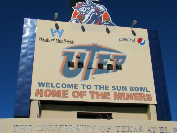 The sign at Sun Bowl Stadium, home of the University of Texas-El Paso Miners.