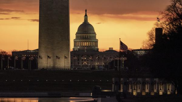 The Capitol and Washington Monument are seen at dawn on Monday.