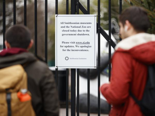 A sign posted outside the National Zoo earlier this month declares its closure, along with the closure of all Smithsonian museums. They were all on the wish list for Jill Rorem, whose family plans were undone by the shutdown. But she's not alone: The shutdown's ramifications on the arts have been felt far beyond the Beltway.