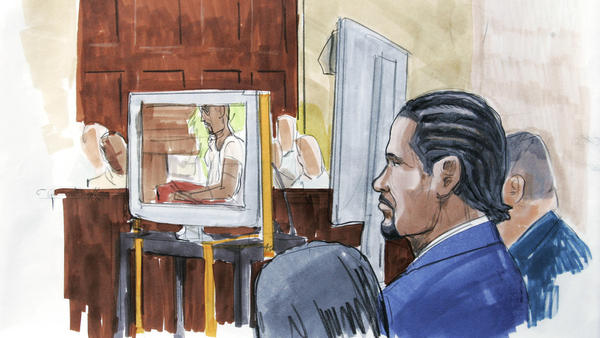 An artist's rendering shows R. Kelly watching in court as prosecutors play the sex tape at the center of his 2008 child pornography trial in Chicago, just hours after opening statements in which they accused the R&B singer of choreographing and starring in the footage with an underage girl.
