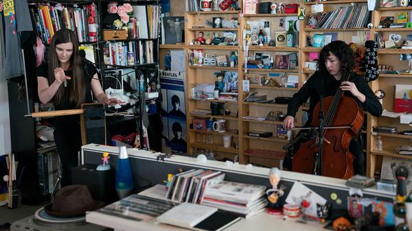 Carolina Eyck and Clarice Jensen perform a Tiny Desk Concert on Dec. 3, 2018 (Cameron Pollack/NPR)/