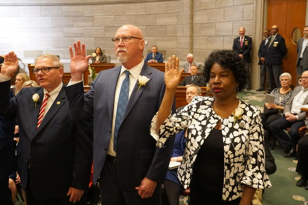 Senators take their oath of office on Jan. 9, 2019, at the beginning of the 2019 legislative session.