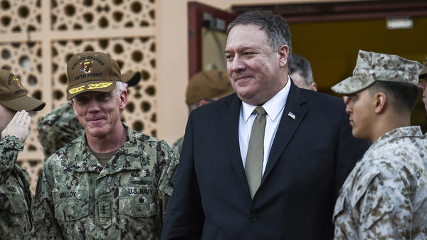 U.S. Secretary of State Mike Pompeo (center) visited Bahrain on Friday.