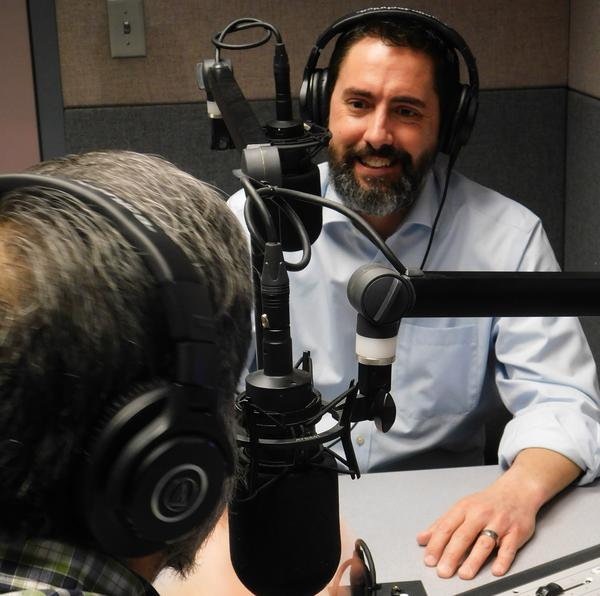 Secretary of State-elect Frank LaRose talks with WKSU's Kabir Bhatia