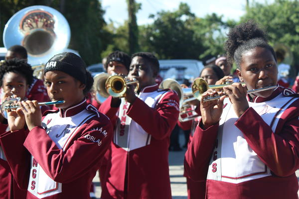 The Miami Norland Senior High School Color Guard prepares for the Calle Ocho Three Kings Day Parade on Sunday, Jan. 13, 2019.