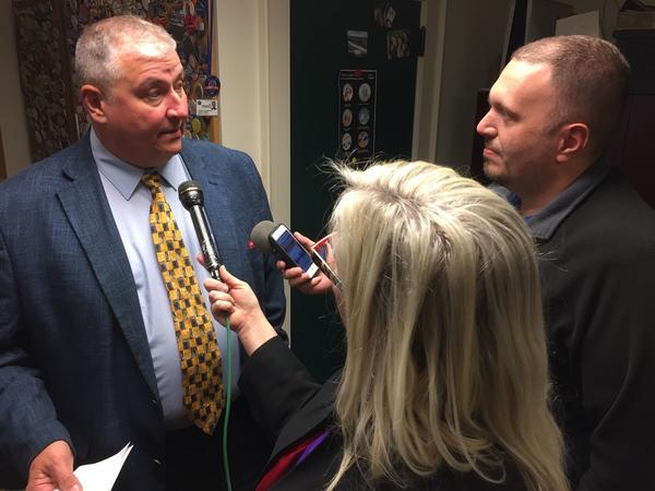 Rep. Larry Householder (R-Glenford) talks to reporters in December 2017.