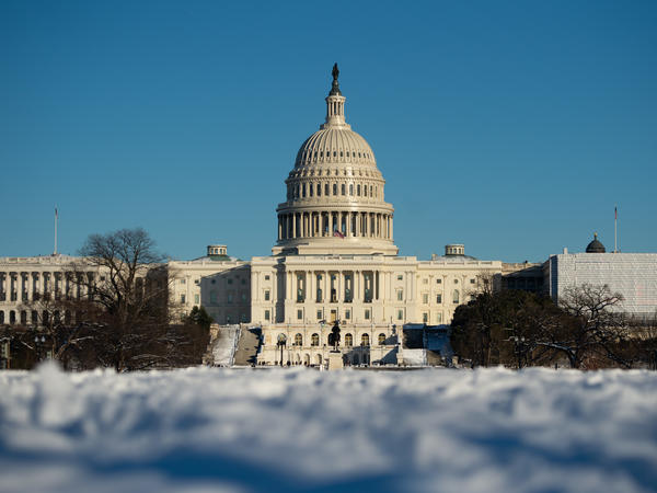 The US Capitol in Washington, DC, January 14, 2019, is seen following a snowstorm.