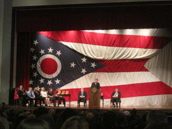 Gov. John Kasich delivers his first on-the-road State of the State speech in Steubenville in February 2012.
