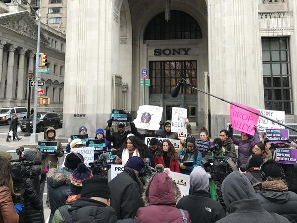 Protesters in the #MuteRKelly movement gather outside the Sony offices in New York City.