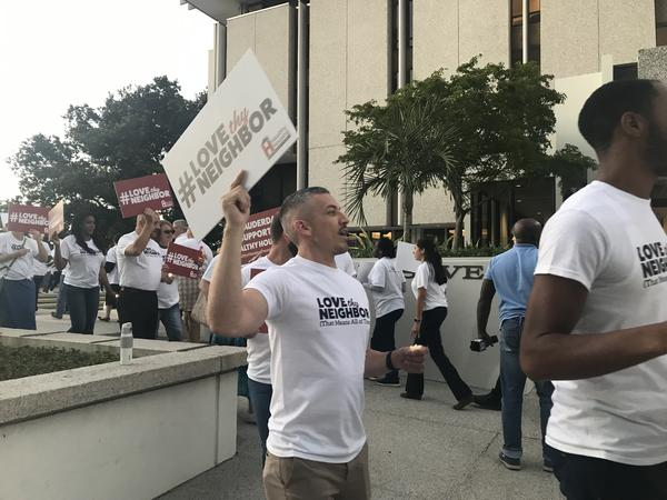 More than 100 supporters for the affordable housing tower rallied at City Hall on Monday, Jan. 7. Many were AIDS Healthcare Foundation staff or indirectly affiliated with the nonprofit.