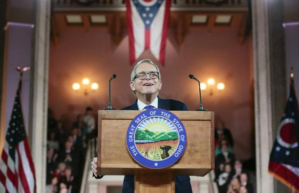 Mike DeWine delivers his inaugural address after his ceremonial swearing-in Monday, Jan. 14, 2019, at the Ohio Statehouse in Columbus.