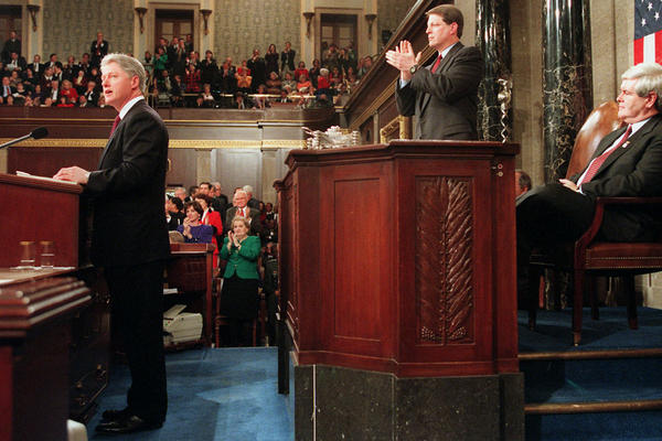 President Bill Clinton gives his State of the Union address in 1996 on Capitol Hill.