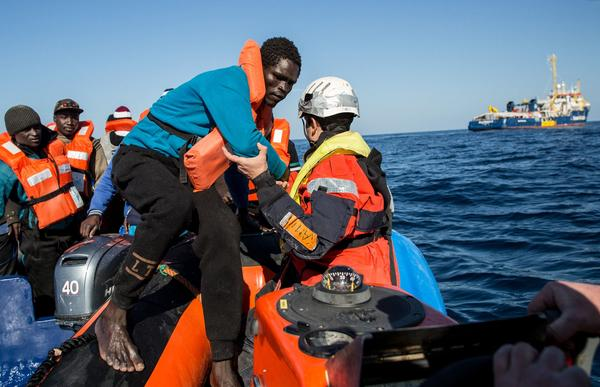 A group of 47 migrants is transferred from a rescued inflatable boat onto a Sea Watch 3 RHIB during a rescue operation by the Dutch-flagged vessel Sea Watch 3 off Libya's coasts on Saturday.