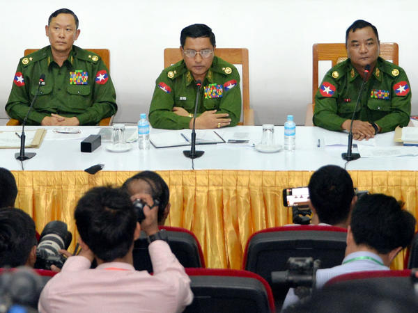 Myanmar Army Maj. Gen. Tun Tun Nyi (left), Maj. Gen. Soe Naing Oo (center) and Maj. Gen. Zaw Min Tun (right) attend a military press conference on Jan. 18. Myanmar's army said it killed 13 ethnic Rakhine fighters after the armed group carried out deadly attacks on police posts.