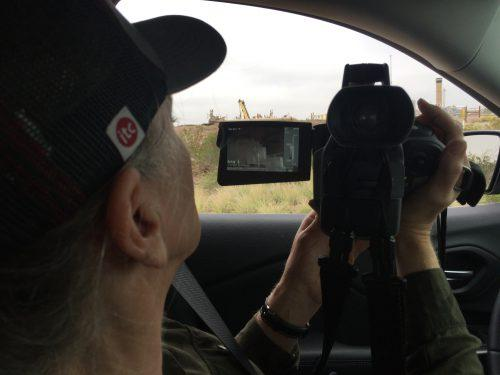 Sharon Wilson using an FLIR camera to track oil and gas emissions.