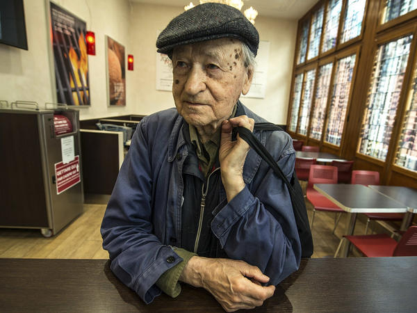 Jonas Mekas, seen in 2015 in Venice, Italy, where the filmmaker's digital works were exhibited at the same time as the Venice Biennale. Mekas died Wednesday at the age of 96.
