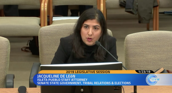 Jacqueline DeLeon with the Native American Rights Fund testifies on voting rights before a Washington legislative committee Jan. 23, 2019.