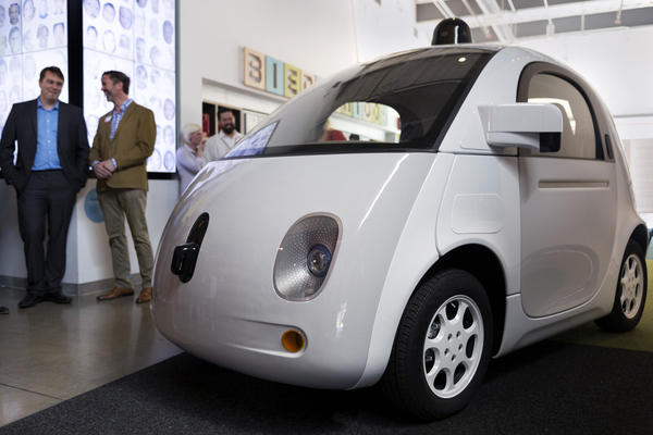 A Google self-driving car prototype at the Google Fiber Space in 2015.