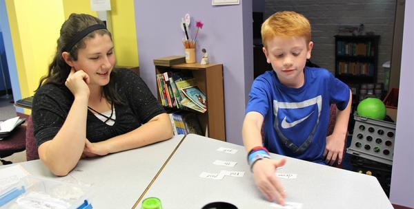 A student with dyslexia gets specialized tutoring at Pittsburg State University's Center for READing.