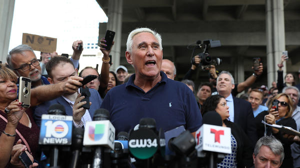 Roger Stone speaks to the media after leaving the federal courthouse Friday in Fort Lauderdale, Fla.