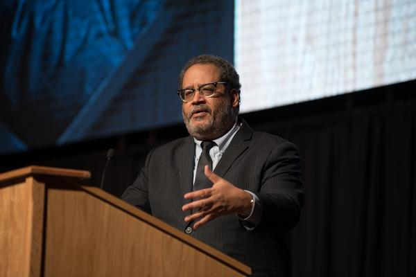 Author and commentator Michael Eric Dyson delivered the keynote address at Illinois State University's Martin Luther King Jr. cultural dinner at Redbird Arena.