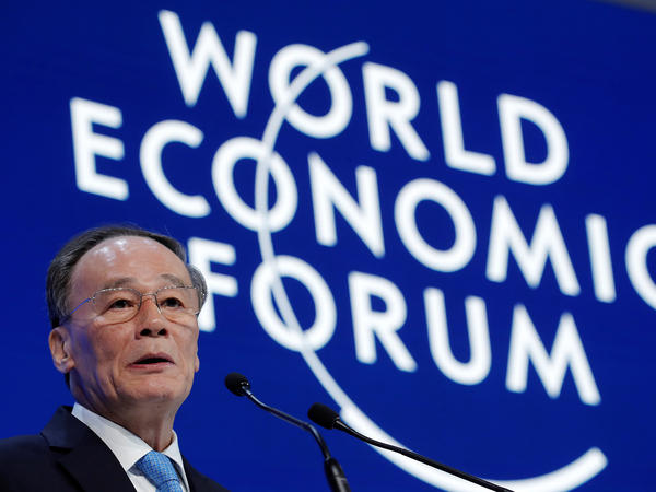 Chinese Vice President Wang Qishan speaks at the World Economic Forum annual meeting in Davos, Switzerland. His message: The U.S. shouldn't expect too much from China when it comes to cracking down on intellectual property theft.