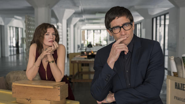 Rhodora (Rene Russo) and Morf (Jake Gyllenhaal) gaze into the abyss in Dan Gilroy's <em>Velvet Buzzsaw.</em>