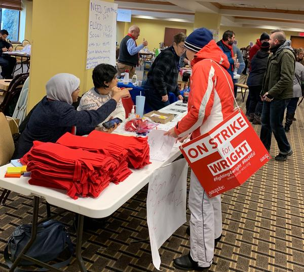 Picketers check in at Wright State's faculty union's strike headquarters