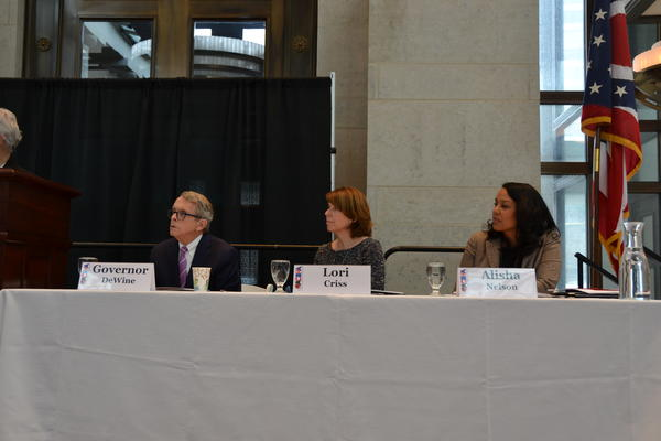 L-R - Gov. DeWine, Lori Criss (Director of Department of Mental Health and Addiction Services), Alisha Nelson (Director, RecoveryOhio)