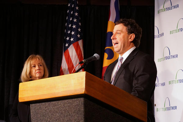 St. Louis County Executive Steve Stenger  (right) and St. Louis Mayor Lyda Krewson (left) stand together at the Better Together press event.