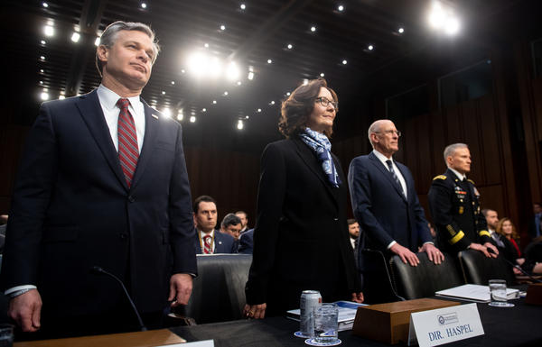 FBI Director Christopher Wray (from left), CIA Director Gina Haspel, Director of National Intelligence Dan Coats and Lt. Gen. Robert Ashley, director of the Defense Intelligence Agency, arrive to testify before the Senate intelligence committee on Capitol Hill on Tuesday.