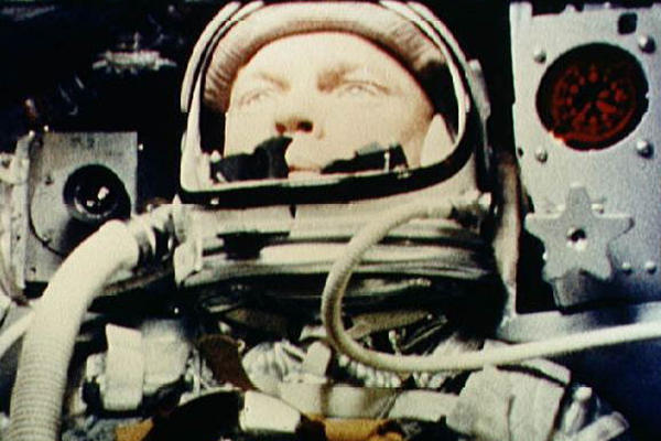 Glenn in the Friendship 7 spacecraft during his Feb. 20, 1962, flight around the Earth.